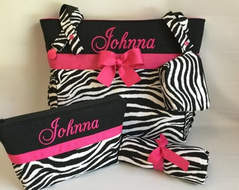 ZEBRA Diaper Bag SET ... Hot PINK Accents  ...  Diaper Bag .. Changing Pad ... Paci Clip .. Diaper Pouch .. Pacifier Pouch