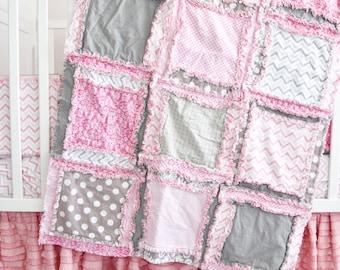 Pink Crib Bedding Baby Rag Quilt - Pink / Gray Bedding Baby Blanket Size - Crib Size Quilt Girl Bedroom Decor - Modern Nursery Girl Quilt