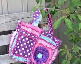 Diaper Bag Girl - Purple / Turquoise / Pink Diaper Bag - Purple Diaper Bag - Large Diaper Bag - Ruffle Flower Purse - Polka Dot Diaper Bag