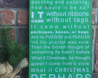 Grinch Christmas Wood Sign, Green Grinch Sign, Christmas Movies, Wood Christmas Sign, Grinch Quote, How the Grinch Stole Christmas