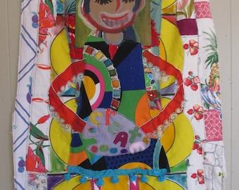 artist create - Large Textile Assemblage Banner Flag - Fabric Collage Wall Quilt - Vintage Materials - myBonny Random Scraps