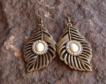 Earrings, Dangle Earrings, Costume Earrings, Faux Pearl Earrings, Botanicle Earrings, Copper Earrings