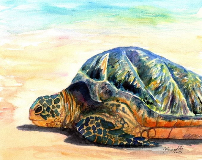 Green Sea Turtle - Fine Art Print 8x10 - Kauai Art - Hawaiian Honu Painting - Hawaii Art - Ocean Decor - Animal Prints - Beach Art - Turtle