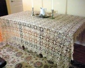 Large Antique Crocheted Tablecloth Ecru Gorgeous Design, Bed Coverlet, Excellent Condition