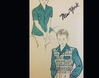 Vintage 40s Boy's Button Front Wide Notched Collar Rockabilly RAB Shirt Sewing Pattern 926 Chest 30