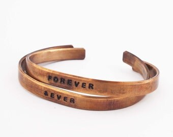 Bronze Anniversary Bracelets, Bronze Cuffs, Forever and Ever, Personalized Cuff, 8 Year Anniversary Gift