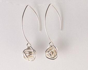 Silver Knot Earrings, Long Sterling Earrings, Sterling Knotted Jewelery