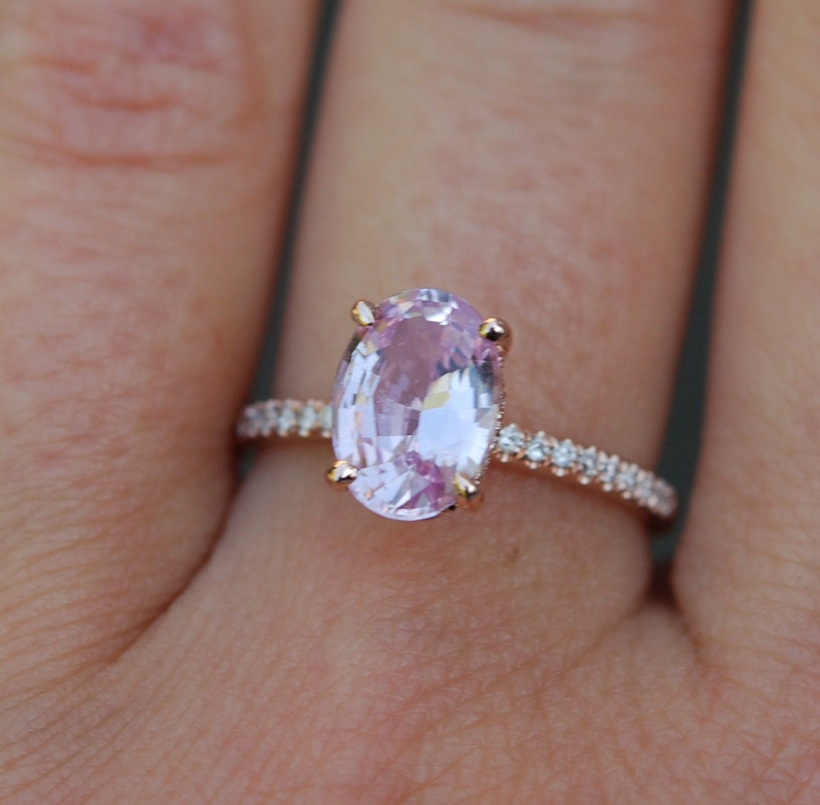 Rose gold engagement ring Peach sapphire 2 12ct diamond ring