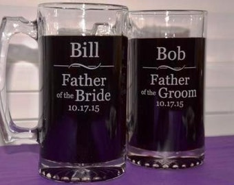 One Engraved Father of the Bride, Father of the Groom Large 27 oz Glass Mug, Groomsmen Gift, Best Man, Usher, Wedding Party Gifts