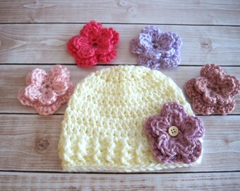 Baby Hat with Flower, Baby Girl Hat, Girl Baby Hat, Baby Hospital Hat, Newborn Girl Hat, Baby Flower Beanie, Interchangeable Flowers, Pinks