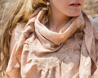 CRESCENDOLL WRAP SHAWL - Lace Ruffle Scarf - Boho Hippie Bohemian Wedding Bride Lagenlook Mori Gypsy Goa - Mauve Dusty Rose Pink