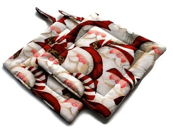 Santa Claus Pot Holders Christmas set of 2 Quilted Red White