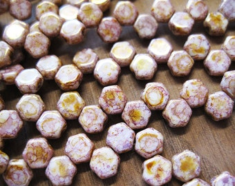 Honeycomb Beads Senegal Purple Honeycomb Czech Pressed Glass Hexagon Two Hole Beads 6mm 30 pcs
