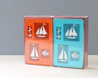 Nautical vintage 1960s playing cards.