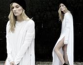 SALE 20% BABOOSHKA Sides Sewn Custom Order Minimalist Dramatic Kick Vent Tee Maxi Dress Side Split SIDESSEWN