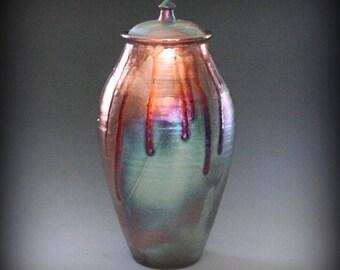 Raku, Raku Urn, Urn, Raku Lidded Vase,Lidded Vase, Metallic Iridescent Colors
