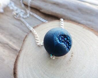 Blue Druzy Ball Sterling Pendant,Titanium Druzy Bead Sterling Silver Necklace, Quartz Druzy Gemstone on Sterling silver Chain