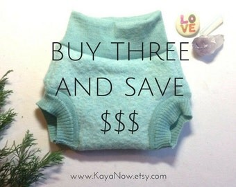 Discount Coupon Code Buy Three Wool Shorties and Save / Cloth Diaper Cover Soaker / Upcycled Wool Boy Girl Unisex