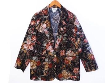 80's FLORAL brocade blazer // boxy grunge blazer // oversized vintage floral jacket // women's L