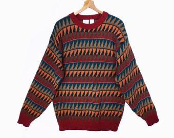 80's vintage GEO sweater // men's COOGI-style // geometric pullover // boyfriend sweater M L