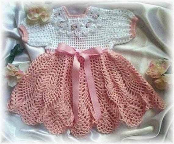 "Crochet Pattern ""Peaches and Cream"" Baby Dress from"