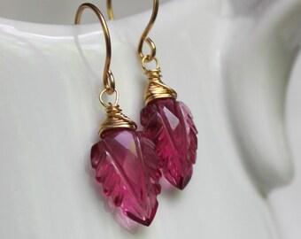 Pink Leaf Gemstone earrings