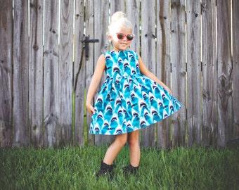 Shark Jaws print Sweetheart Dress - CUSTOM made -  Size 2T-6