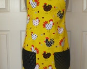 Silly Chickens Apron in yellow
