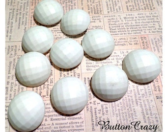 10 BIG White Ball Shaped Vintage SHANK Buttons