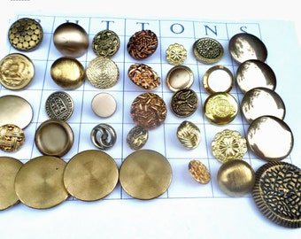 35 GOLD Metal VINTAGE Buttons