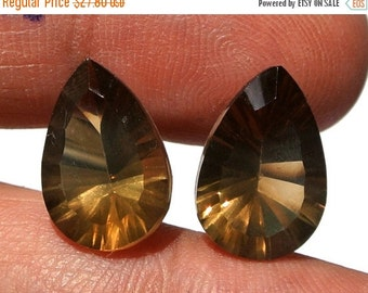 55% OFF SALE High Quality Genuine AAA Smoky Quartz Concave Cut Pear Briolettes Size 14x9.5mm 2 Pieces a Matched Pair.
