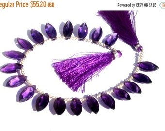 55% OFF SALE 8 Inches - Extremely Beautiful AAA Amethyst Faceted Marquise Briolettes Size 16x8mm approx Finest Quality Wholesale Price
