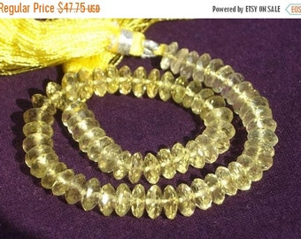 55% OFF SALE 8 Inches - AAA Genuine Lemon Quartz German Cut Faceted Rondelles Size 6mm Approx High Quality, Wholesale Price