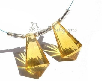 50% Off Valentine day Matched Pair - AAA Golden Quartz Faceted Fancy Chandelier Briolettes Size 22x12mm approx