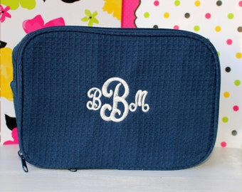 Four (4) PERSONALIZED Large Waffle Weave Cosmetic Bag, Bridesmaid Gifts, Wedding Party Gifts