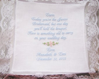 Junior Bridesmaid Personalzed Wedding Handkerchief