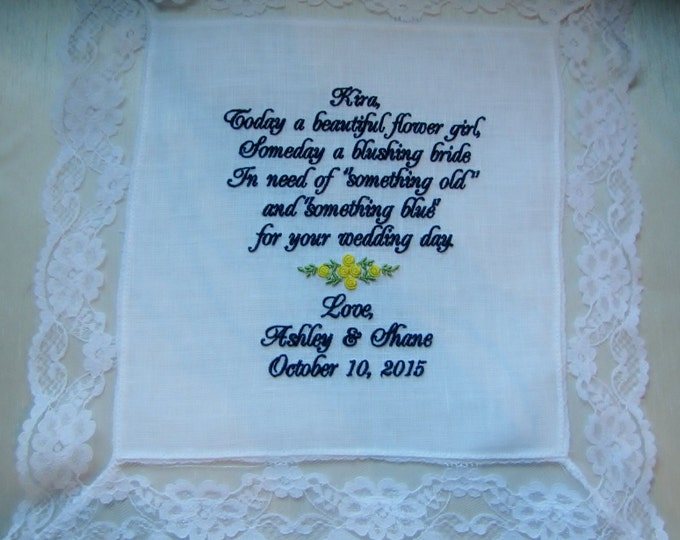Something Old and Something Blue Personalized Flower Girl wedding hankie, wedding handkerchief