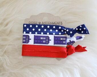 Mini Hair Tie Set in Dr. Who Polka Dot and Tardis Print