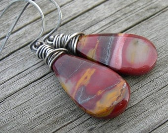 Mookite Jasper Natural Gemstone Sterling Silver Wire Wrapped Earrings