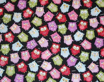 Sleepy Night Owl Fabric By the Yard, Quarter Yard, Fat Quarter Red Blue Pink Green Black Fabric with Owls Cotton Quilting Fabric t3/20