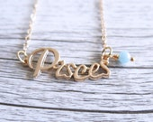 Pisces Necklace Star Sign Zodiac Astrology Necklace Birth Stone Birthday Gold Aquamarine
