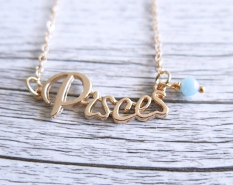 Pisces Necklace Star Sign Zodiac Astrology Necklace Birth Stone Birthday Gold Aquamarine