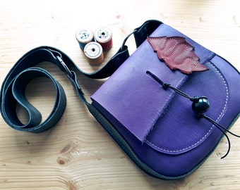 Leather Messenger Bag, Small across body gypsy bag, ARRIETY 3159 violet