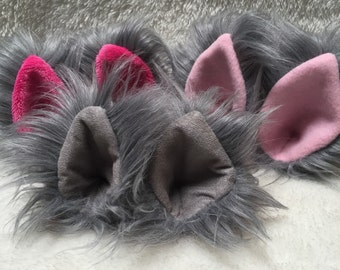 Gray Faux Fur Clip On Costume Ears