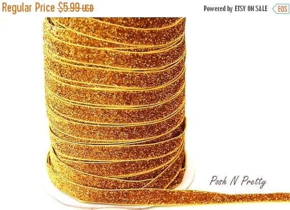 25% OFF TILL 9/26 5/8 Glitter Stretch Velvet Elastic 5 YARDS - No Flake - Gold