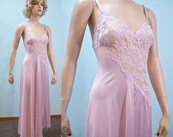 1970s Lilac Nightgown New With Tags . Vintage 70s Val Mode Sheer Lace Nightie . Small
