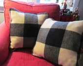 Black White Wool Buffalo Plaid Pillow Cover - Vintage Felted Blanket - Up North Shabby Cottage