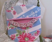 Clothes Pin Bag - Pink Roses and Coneflowers - Repurposed Vintage Tablecloth and Wood Hanger - Cottage Shabby