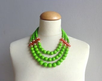 Lime Green chunky necklace modern tribal statement necklace