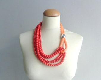 Orange Statement necklace longer style